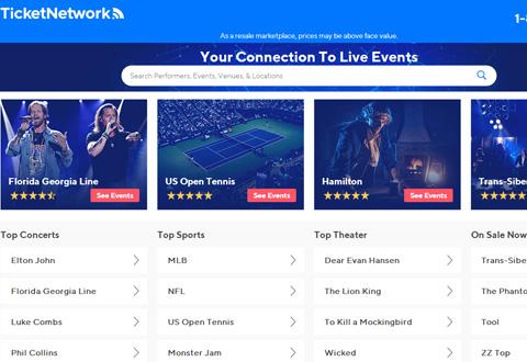 TicketNetwo 美国演唱会和体育比赛门票购买网站