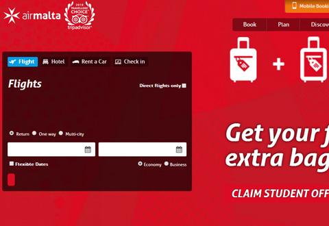 Air Malta 马耳他航空在线旅游预订网站