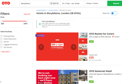 OYO Rooms 英国经济连锁酒店预订网站